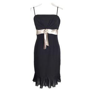 White House Black Market Dress Black Pleated Hem